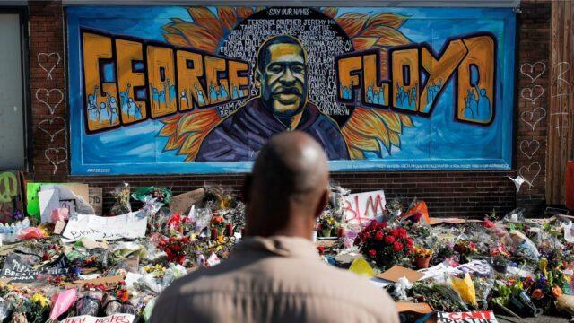 A makeshift memorial honoring George Floyd in Minneapolis
